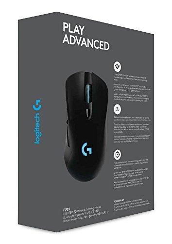 Logitech G703 Lightspeed Wireless Gaming Maus, Kabellose Verbindung, USB-Anschluss, 12000 DPI Sensor, RGB-Beleuchtung, Gewichttuning, 6 Programmierbare Tasten, PC/Mac