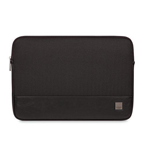 Knomo Holborn 43-102-BLK Laptop Sleeve Made from Durable Polyester Twill with Herringbone Pattern Combined with Faux Leather Suitable for 14-15 Inch Laptop Black