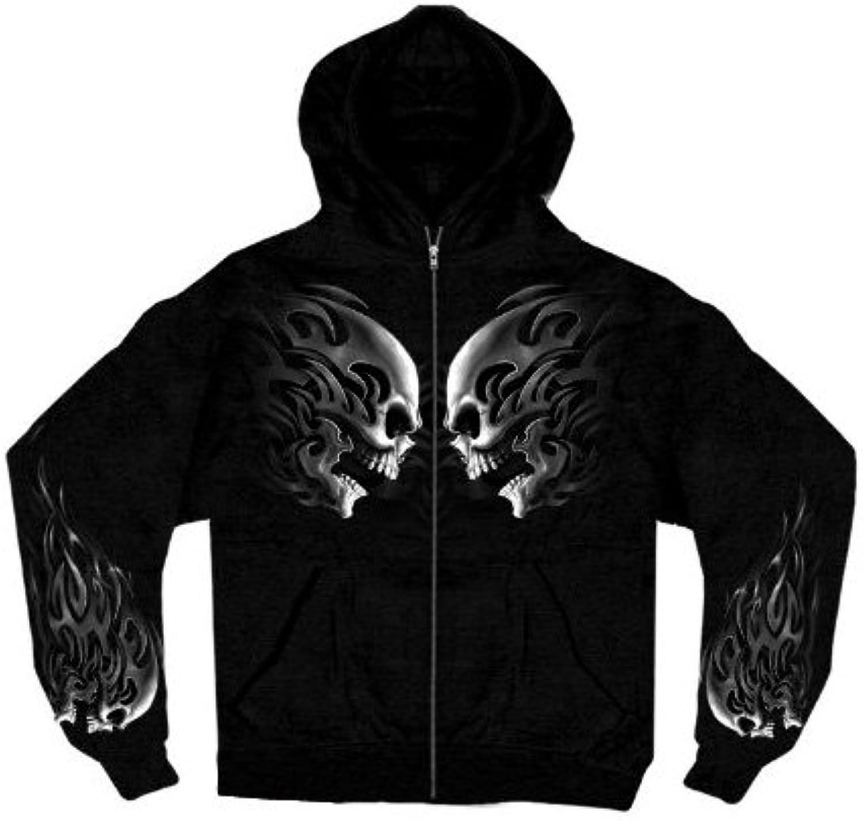 Hot Leathers Head Butt Skulls Zipper Hoodie (Black, X-Large)