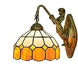 LHQ-HQ Británica Moderna del vitral de Tiffany Sala Comedor Dormitorio Clubhouse Bar Pasillo Amarillo lámpara de Pared de la decoración de la lámpara de Pared de Tiffany mediterránea