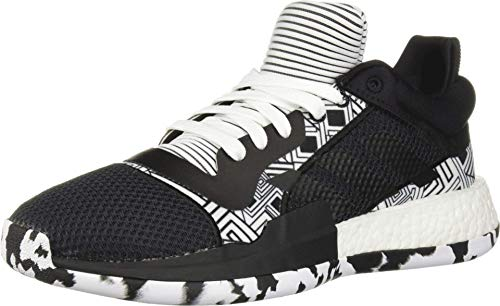 adidas Men's Marquee Boost Low Basketball Shoe, Black/White/Black, 11 M US