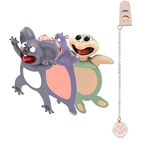3 Stücke 3D Cartoon Tier-Lesezeichen,bookmark animal,lesezeichen kinder,lesezeichen magnetisch,3D Stereo Cartoon schön Tier Lesezeichen Geschenk für Kinder und Erwachsene (style2)