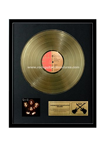 Rock Guitar Miniatures RGM1164 Queen II Gold Disc 24K placcato LP 12