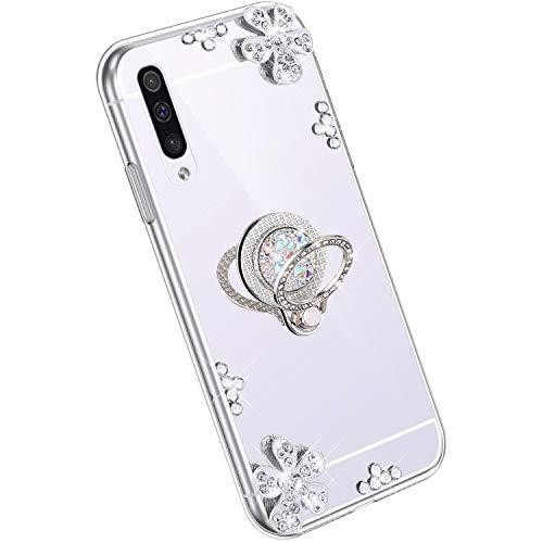 Ysimee Spiegel Hülle kompatibel mit Samsung Galaxy A70 [Ring Holder], Dünne Handyhülle Samsung A70 Bling Glitzer Diamant Hülle mit 360 Grad Ständer Kratzfest Stoßdämpfend Schutzhülle, Silber