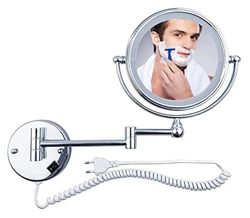 miroir de maquillage 5x miroir de maquillage mural grossissant extensible miroir de rasage de salle de bain cosmétique pliant double face avec lumières, pivotant à 360 ° et extensible, petit miroir