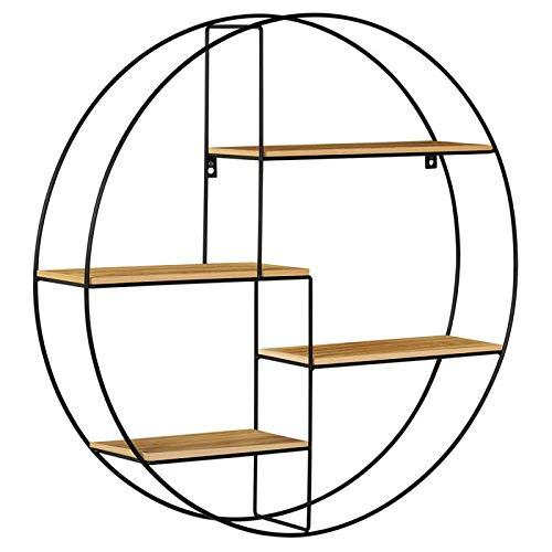 IDMarket - Etagère murale ronde LILY 4 niveaux bois et métal design industriel