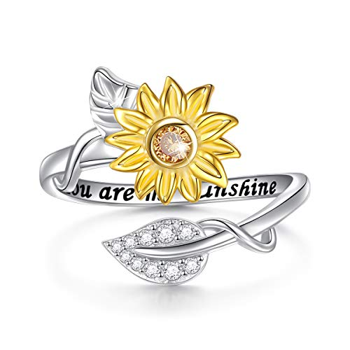 You are My Sunshine Sunflower CZ Heart Sterling Silver Adjustable Ring