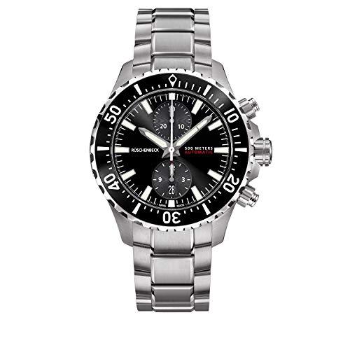 Rüschenbeck The Watch Automatik Herrenuhr R5CHRONO Chronograph Taucheruhr 316L Edelstahl 44 mm Saphirglas Edelstahlarmband Wasserdicht 500 m schwarz/Silber R5-S-MB-K01-01-I-SLN2