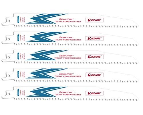 EZARC Reciprocating Saw Blades 9-Inch, Bi-Metal Cobalt Sabre Saw Blades for Wood & Metal Demolition 5+8TPI R936DV (5-Pack)