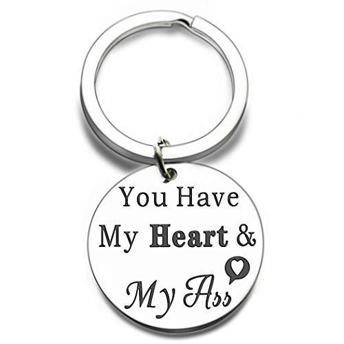 Anniversary Birthday Keychain Gift for Boyfriend Him You Have My Heart Funny Her Girlfirend for Wifey Hubby Aniversity Birthday Valentine'S Thanksgiving Day Christmas WeddingGift I Love You