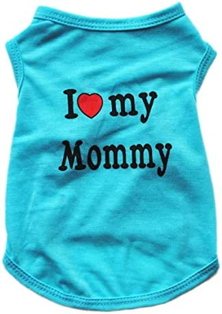 Alroman Puppy Vest Blue Dogs Shirts for Mother s Day with I Love My Mommy Letters Small Clothing product image