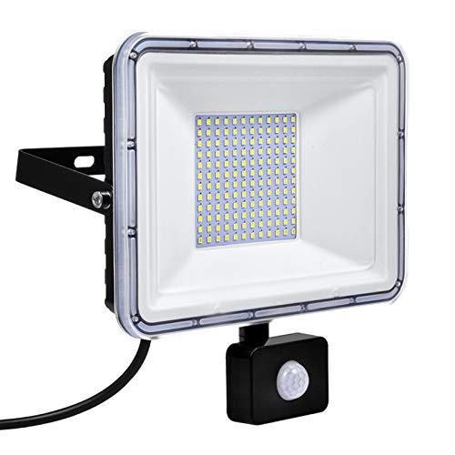 Luces de Inundación LED de 100W con Sensor de Movimiento, 8000LM Foco 6000K IP67 Iluminación Exterior Impermeable para Jardín, Paisaje, Estacionamiento al Aire Libre