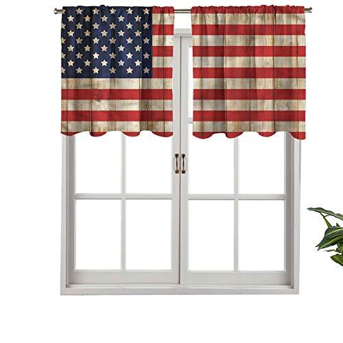 Hiiiman Cenefa de cortina con bolsillo para barra de cortina, día de la independencia en julio, juego de 2, 137 x 91 cm para decoración de interiores