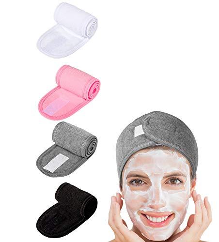 Spa Make-up Stirnband,4 Pack Haarband Kosmetik Haarschutzband Frottee Selbstklebende Stirnbänder mit Klettverschluss für Damen Frauen Beauty Sport Yoga Duschbad 8.5 * 62cm