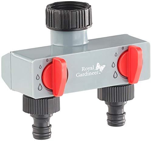 Royal Gardineer Wasserverteiler Garten: Regulierbarer 2-Fach-Wasserverteiler für die Gartenbewässerung (Wasserhahnverteiler)