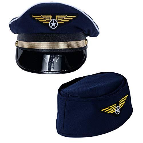 Pilot Hat - 2 Pack - Captain Pilot Hat - Pilot and Flight Attendant Costume - Couples Costumes Tigerdoe