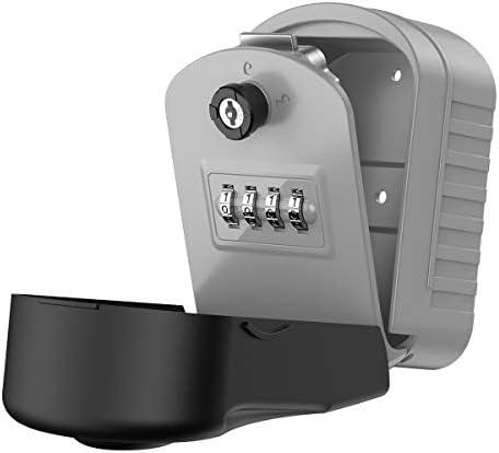 KeeKit Key Lock Box 4 Digit Combination Resettable Lock Box with 1 Key Wall Mounted Key Storage product image
