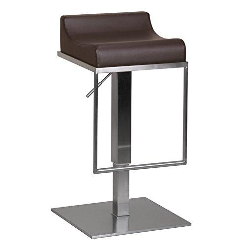 Wohnling Edelstahl Barhocker Durable M5, Edler Gastro Barstuhl Sitzfläche gepolstert, Exklusiver Design Tresenstuhl mit Fußstütze Standfest, Sitzhöhe 59-84 cm Höhenverstellbar, braun