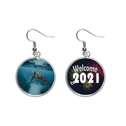 Pendientes con diseño de tortuga marina de océano, ciencia y naturaleza, joyería 2021 bendición