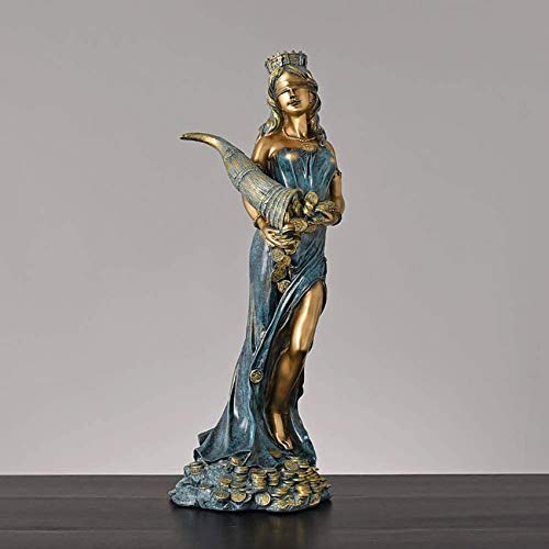 XHCP Sosteniendo el Cuerno de la abundancia Escultura Diosa de la Suerte con los Ojos vendados Figurilla Greco-Romana, Estatua de la Diosa de la Suerte Fate Fortune Figurilla -