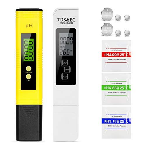 Mture pH Messgerät, pH TDS EC und Temperatur 4 in 1 Set, mit Hohe Genauigkeit automatischer Kalibrierungsfunktion und LCD Display, Wasserqualität Tester für Trinkwasser/Schwimmbad/Aquarium/Pools
