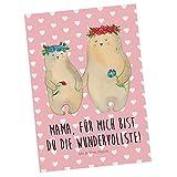 Mr. & Mrs. Panda Geschenkkarte, Grußkarte, Postkarte Bären mit Blumenkranz mit Spruch - Farbe Rot Pastell