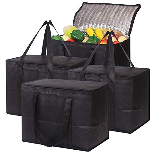 Set of 4 Large Insulated Reusable Grocery Bags with Sturdy Zipper and Handles Foldable Washable Heavy Duty Cooler Totes for Hot or Cold Food Delivery Groceries Travel Shopping