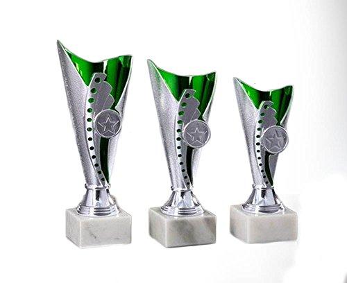 RaRu 3er-Serie Pokale (Silber/Grün) mit Wunschgravur und 3 Anstecknadeln (Sticker) (Tennis)