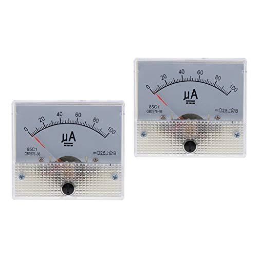 PETSOLA 2 Stück Rechteck 85C1 Panel DC Analog Amperemeter Mikro Amp Meter 0 100uA