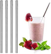 Ecofriendly Stainless Steel Smoothie Straws - WIDE for Thick Shakes - Metal drinking straw   Reusable, eco-friendly   Free...