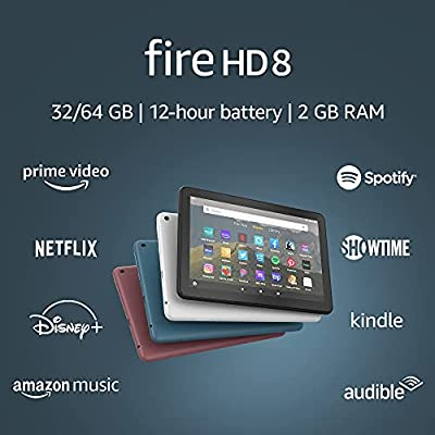 """Fire HD 8 tablet, 8"""" HD display, 32 GB, latest model (2020 release), designed for portable entertainment, Black by Amazon"""