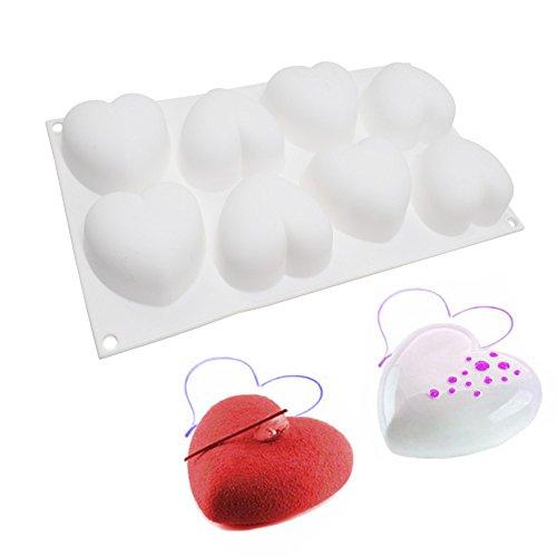 Herbruikbare bakvorm – siliconen vorm met 8 bakjes, voor handwerk, chocolade, ijsblokjes, gelei, set in hartvorm, 2 stuks