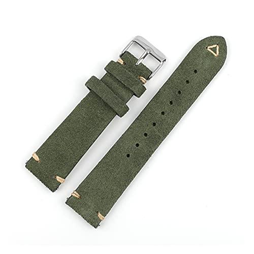 SSXPNJALQ Cinturino in Pelle Pelle Scamosciata 18mm 19mm 20mm 22mm Blu Verde Orologio Vintage Cinturino Cinturino da Polso da Polso Ricambio a Forma di Cinturino a Mano