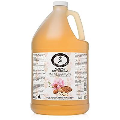 Castile Soap Liquid Almond w/Organic Cocoa Butter- 1 Gallon - Vegan & Pure Organic Soap - Carolina Castile Soap - Concentrated Non Drying All Natural Formula Good for Sensitive Skin