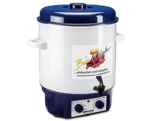 ROMMELSBACHER Glühwein-/Einkochvollautomat KA 1804 - 2-Schicht-Emaillierung, 27 Liter/für 14 Gläser à 1 Liter, stufenlos regelbar, Entsafterschaltung, Zeitschaltuhr, Ablaufhahn, Überhitzungsschutz