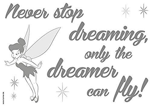 Komar 14001h Zoll Never stop Dreaming Deco-Sticker, Grau/Schwarz, 50 x 70 cm