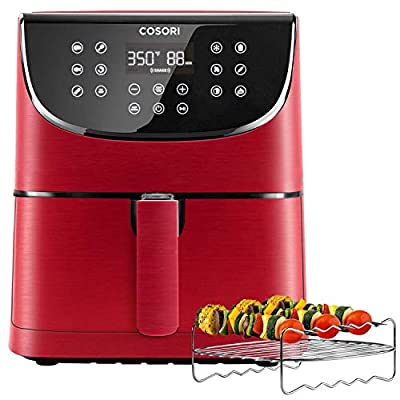 COSORI Air Fryer(100 Recipes, Rack and 4 Skewers),3.7QT Electric Hot Air Fryers Oven Oilless Cooker, Preheat and Shake Reminder, LED Touch Screen, Nonstick Basket,2-Yr Warranty,1500W,Red (Renewed)
