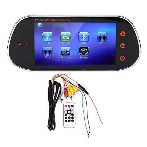 Telecamera per Auto Full HD Touch Screen, Telecamera per Specchietto Retrovisore da 7 Pollici DVR 1080P HID Touch Screen per Visione Notturna con Telecomando Bluetooth MP5