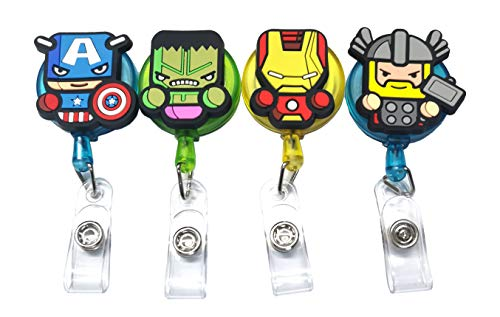 4PCS Retractable Badge Holder,Hero Badge Holder Reel Clip,Cartoon Retractable Badge Reel, Badge Reel Holder for Kids, Nurses, Name Badge Holders with Clip for Offices