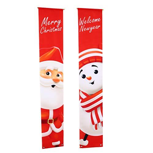 Kisangel 1 Paar Frohe Weihnachten Veranda Zeichen Willkommen Weihnachten Banner Neujahr Türschild für Neujahr Weihnachten Party Dekorationen im Freien (Rot 2)