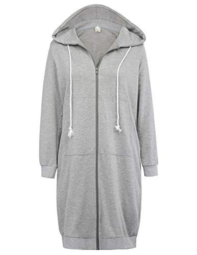 GRACE KARIN Women's Pocket Hoodies Tunic Sweatshirt Grey Size L CL612-2