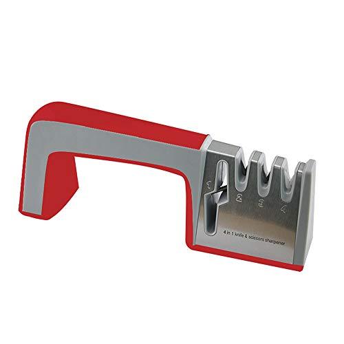 Honglida ナイフとはさみ研ぎ器 4イン1 多機能研ぎ器 様々な種類の家庭用ナイフに最適 プロフェッショナルキッチン研ぎ器 (レッド)
