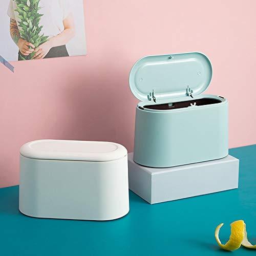 Mini Trash Can Abfalleimer Desktop-Müll Papierkorb Startseite Müll Rollen kann Schaukel mit Deckel Schreibtisch Storage Box Car Papierkorb Blau (Color : Blue)