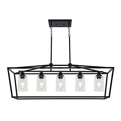 BONLICHT Farmhouse 5 Light Rectangle Dining Room Chandelier with Clear Glass Shade in Matte Black Finish,Classic Industrial Kitchen Island Pendant Hanging Lighting for Living Room Foyer