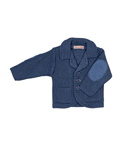 Cocolina Strickjacke Baby Jungen Sakko aus Strick Stricksakko Jacke für die Taufe Jungen (80, Blau)