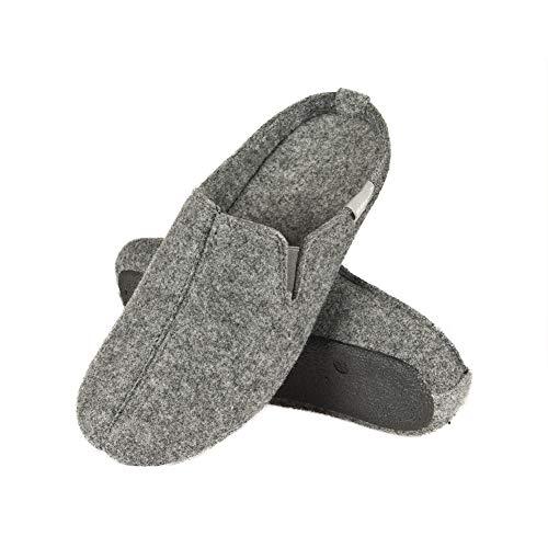 soxo Filz Hausschuhe Herren | Grau Filzpantoffeln für Männer & Frauen | Bequeme Unisex Pantoffeln | Winter Filzhausschuhe in vielen Größen