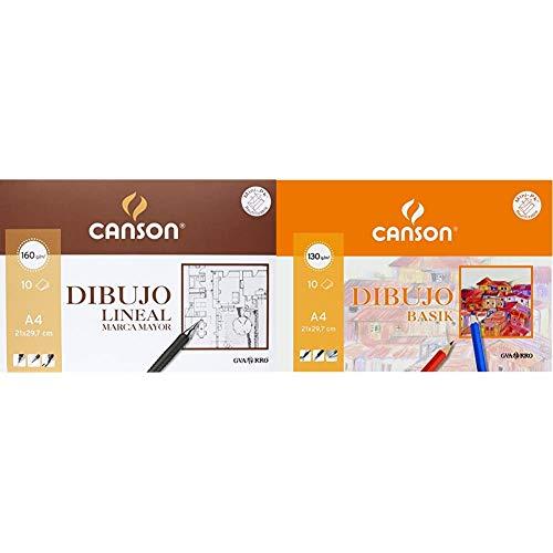 Canson 409784 - Láminas marca mayor, 10 hojas + k A4, 10 Hojas, Guarro Dibujo Basik Liso 130g