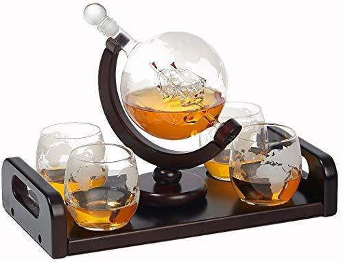Bezrat Etched Globe Whiskey Decanter + 4 Whiskey Glasses 10 Oz. on...