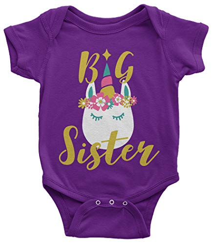 Threadrock Baby Girls' Unicorn Big Sister Infant Bodysuit 24 Months Purple