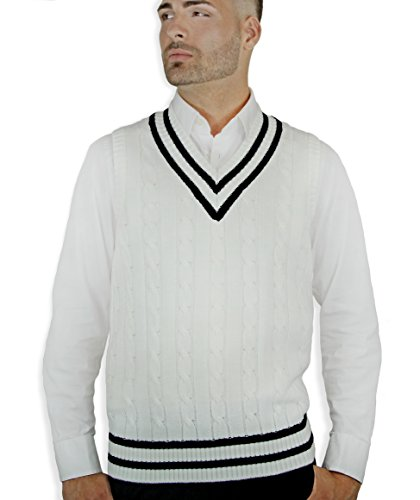 Blue Ocean Cable Sweater Vest-X-Large White